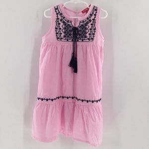 Top girl pink & blue embroidered sleeveless dress